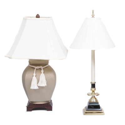 Urn Shape Table Lamp with Tassle and Regency Style Lamp