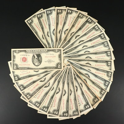 Twenty-Six U.S. $2 Red Seal Legal Tender Notes