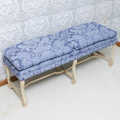 French Provincial Style Upholstered Hall Bench, Mid-20th Century