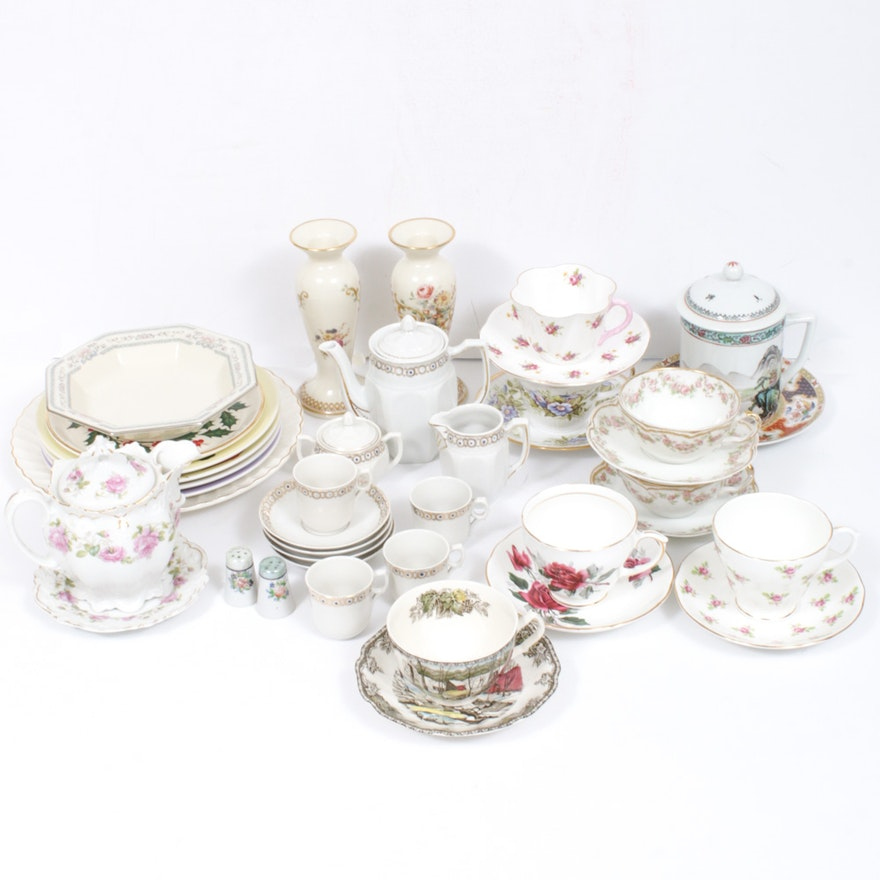 Lenox, Haviland and Other Porcelain Teacups, Serveware and Table Accessories