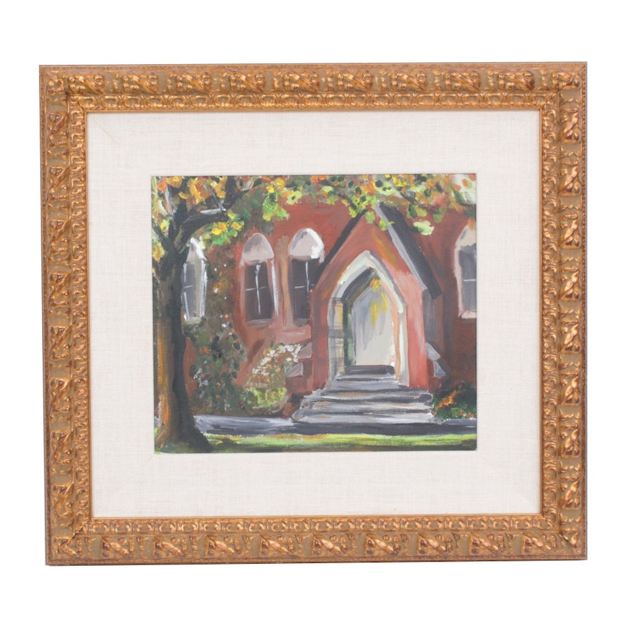Oil Painting of Church Front, Mid to Late 20th Century