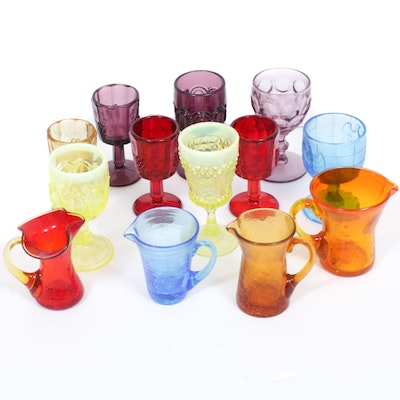 Blenko Crackle Glass Creamers and Other Pressed Glass Goblets, Mid-20th Century