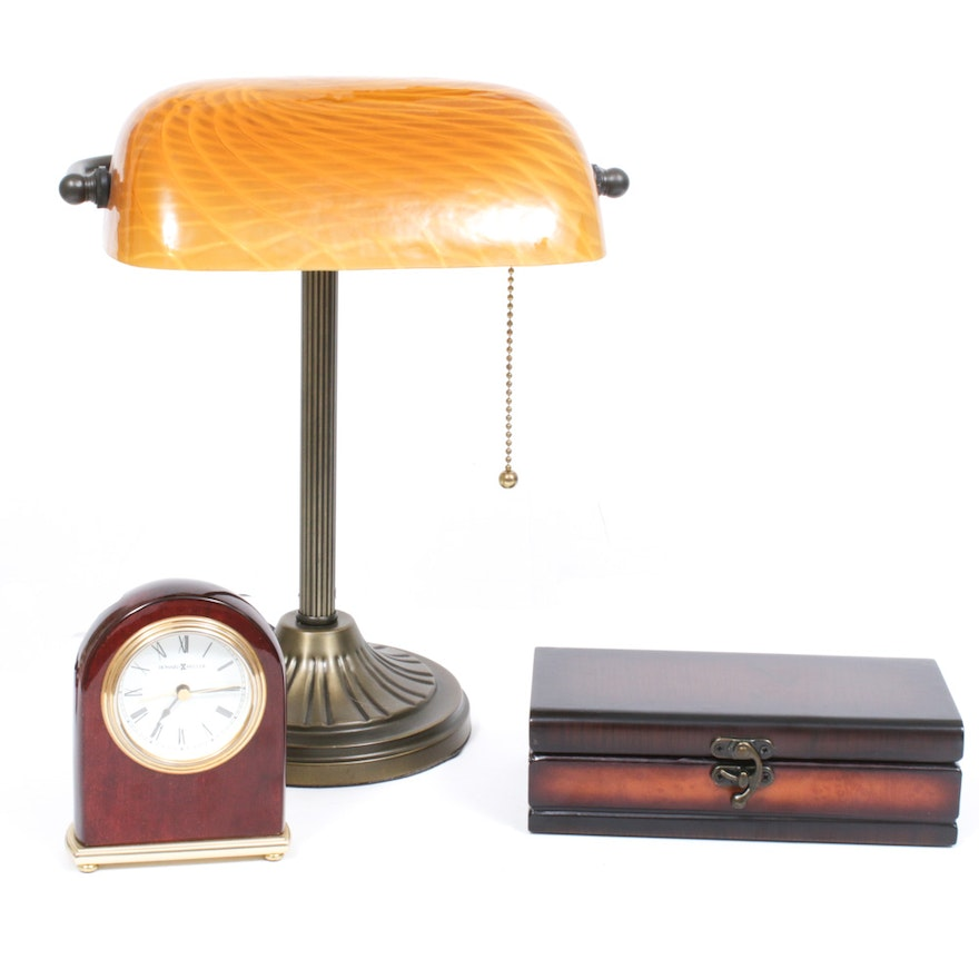Banker Style Desk Lamp, Howard Miller Clock and Decorative Box