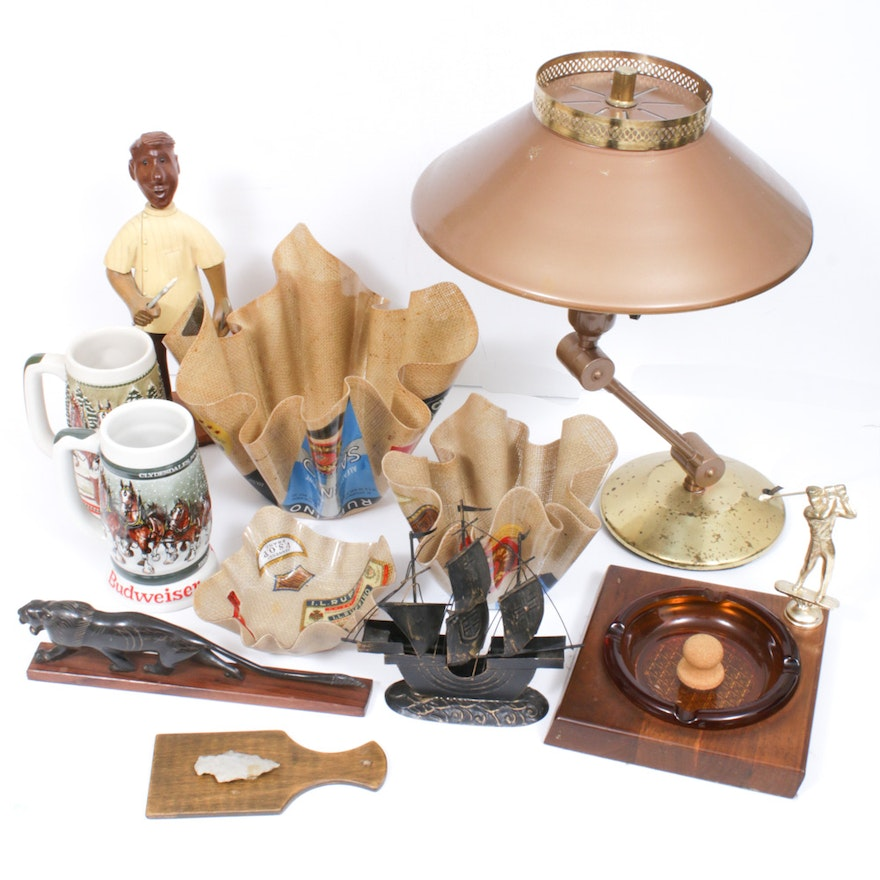 Budweiser Steins, Wooden Dentist Figurine and Other Decorative Collectibles
