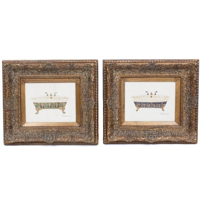 Ornate Gesso Framed Offset Lithograph Prints of Clawfoot Bathtubs
