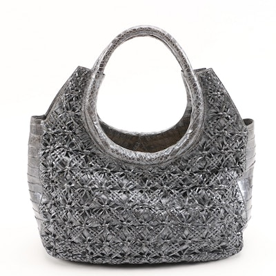 Nancy Gonzalez Gray Woven Caiman Crocodile and Metallic Silver Denim Tote Bag