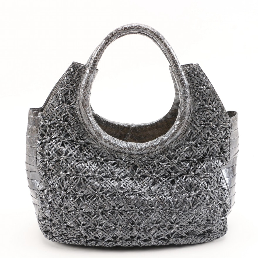 Nancy Gonzalez Gray Woven Caiman Crocodile and Metallic Silver Denim Tote Bag