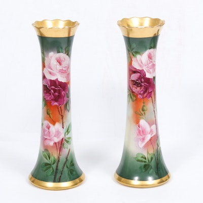 E. Scheestel Hand-Painted Porcelain Vases, Early to Mid 20th Century