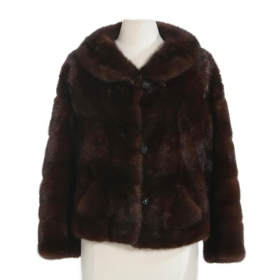 Mahogany Mink Fur Jacket, Mid-20th Century
