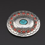 Wilbur Musket Navajo Sterling Belt Buckle with Turquoise and Coral Accents