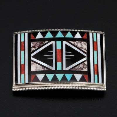 Rick & Lucy Vacit Zuni Sterling Belt Buckle with Turquoise, Coral and MOP Inlay