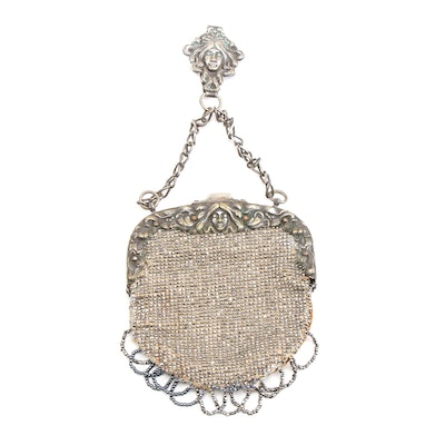 Art Nouveau Chatelaine Bag with Velvet and Steel Cut Beads