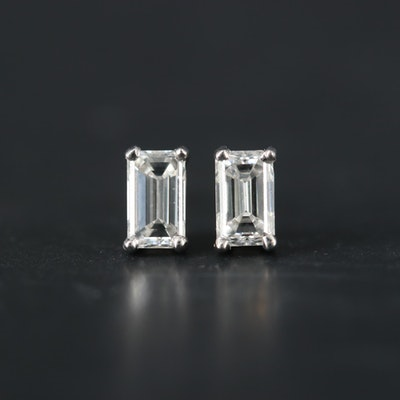 14K White Gold 0.80 CTW Diamond Stud Earrings