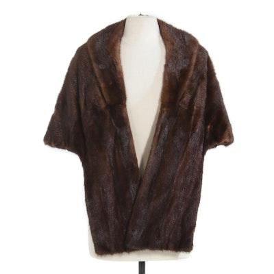 Mahogany Mink Fur Stole, Vintage
