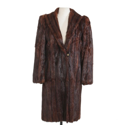 Mahogany Dyed Muskrat Fur Coat, Mid-20th Century
