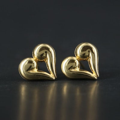 14K Yellow Gold Heart Shaped Earrings