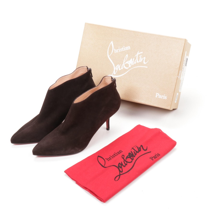 Christian Louboutin Chocolate Brown Suede Zip-Up Heeled Ankle Boots