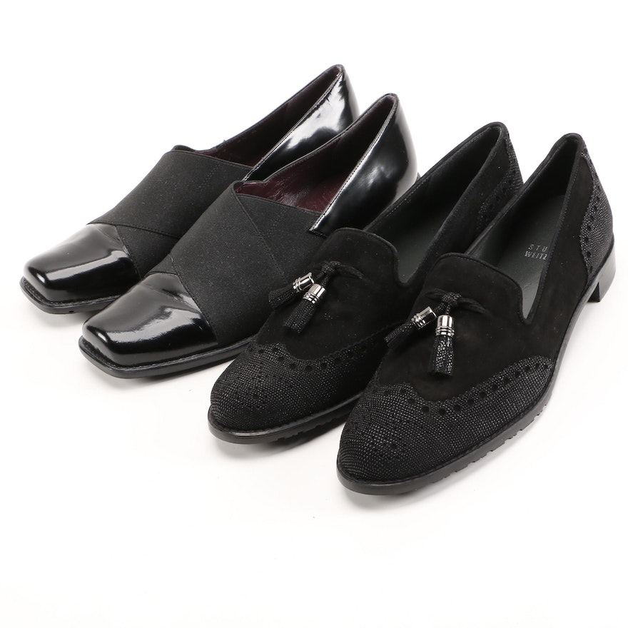 Stuart Weitzman Black Suede Guything and Black Leather Recover Loafers