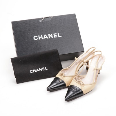 Chanel Beige and Black Leather CC Cap-Toe Slingbacks