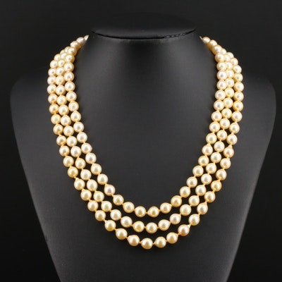 14K Yellow Gold Triple-Strand Pearl Necklace