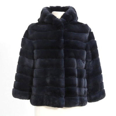 Sheared and Dyed Blue Rex Rabbit Fur Hooded Jacket, Made in Italy