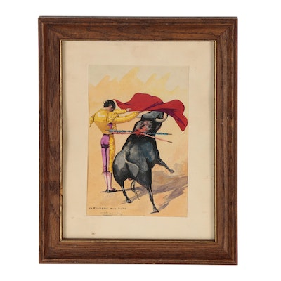 Watercolor Painting of Spanish Bullfighting Scene