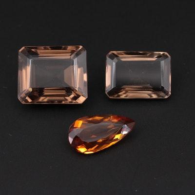 Loose 53.97 CTW Citrine and Smoky Quartz Gemstones
