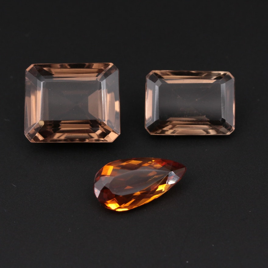 Loose 53.97 CTW Citrine and Smoky Quartz Gemstones