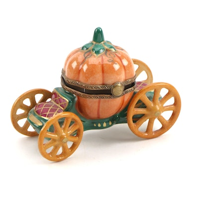 Chamart Hand-Painted Porcelain Pumpkin Carriage Limoges Box
