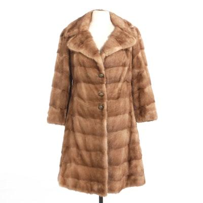 Mink Fur Coat with Wide Notched Collar from Estevez Furs, Vintage