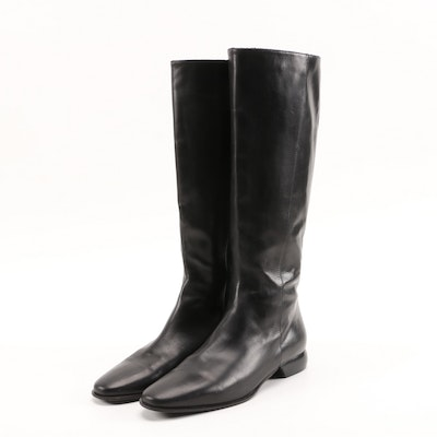 Cole Haan City Black Leather Riding Style Boots