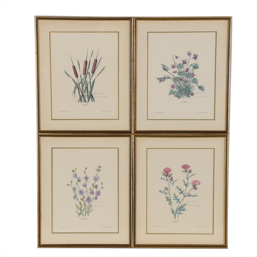 Nellie Meadows Botanical Offset Lithographs, Late 20th Century