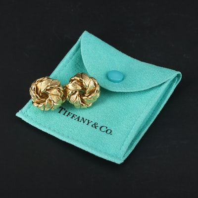 "Vintage Tiffany & Co. ""Leaf Knot"" 18K Yellow Gold Earrings"