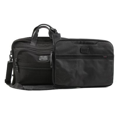 Tumi Portfolio Briefcase with Laptop Sleeve in Black Nylon and Leather