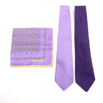 Tom Ford and Thomas Pink Silk Neckties and Pocket Square in Lilac and Purple
