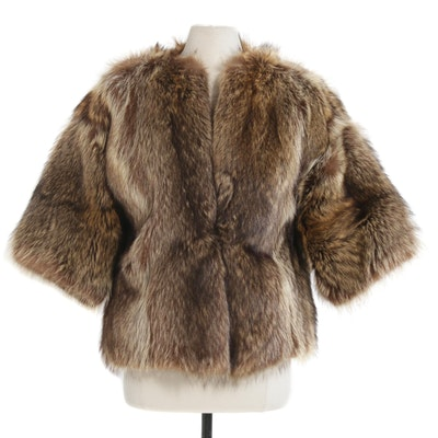 Tanuki Fur Reversible Coat with Three-Quarter Length Sleeves