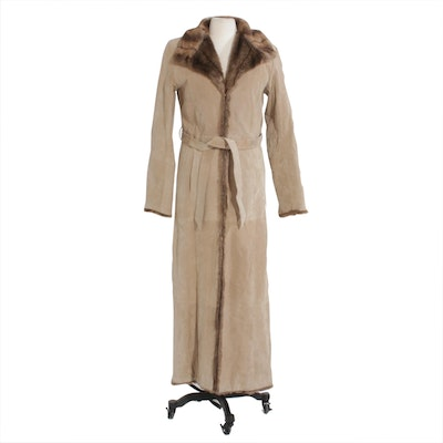 Charlotte Russe Suede Full-Length Coat with Tie Belt and Faux Fur Trim