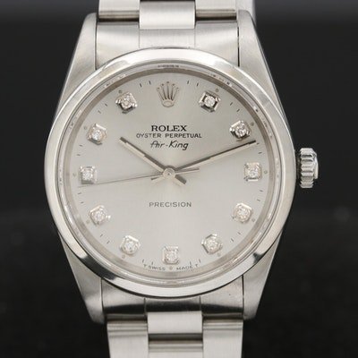 Rolex Air-King Stainless Steel and Diamond Wristwatch, 1991