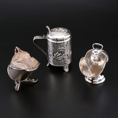 Silver Plate Sugar Scuttles and Beer Stein, Vintage