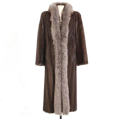 Bonwit Teller Demi-Buff Mink Full-Length Coat with Fox Fur Trim