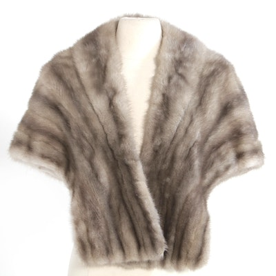 Grey Mink Fur Stole from Famous-Barr Co., Mid-20th Century