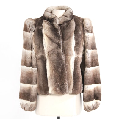 Chinchilla-Dyed Rex Rabbit Fur Cropped Jacket