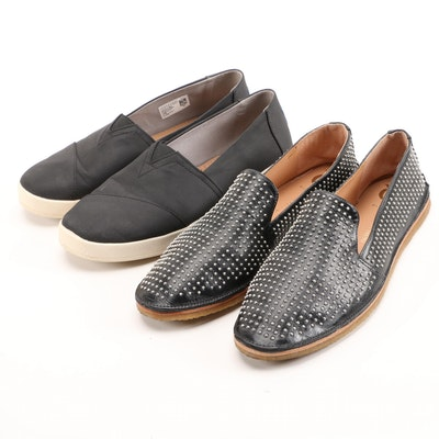 VC Signature by Vince Camuto Studded Leather Loafers and Toms Slip-Ons in Black