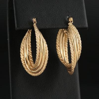14K Yellow Gold Rope Patterned Hoop Earrings