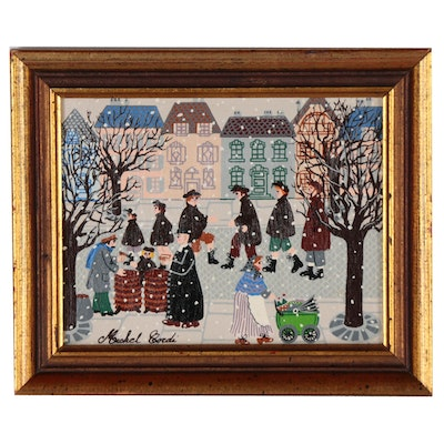 Serigraph after Michael Cordi of Winter Street Scene