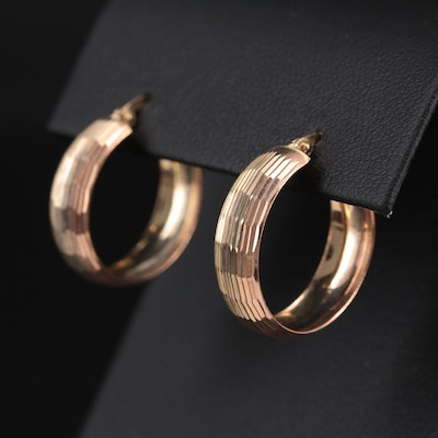 14K Yellow, White and Rose Gold Faceted Hoop Earrings
