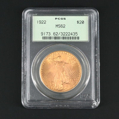 PCGS Graded MS62 1922 St. Gaudens $20 Gold Double Eagle