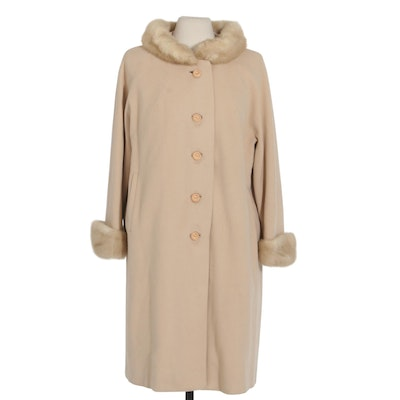 Cashmere Coat with Mink Fur Trim from Crown Regency, Mid-20th Century
