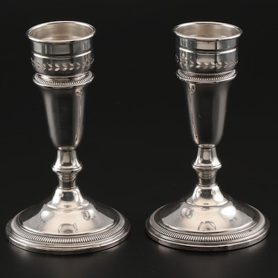 Crown Silver Co. Sterling Silver Ribbed Band Candlesticks with Adapters