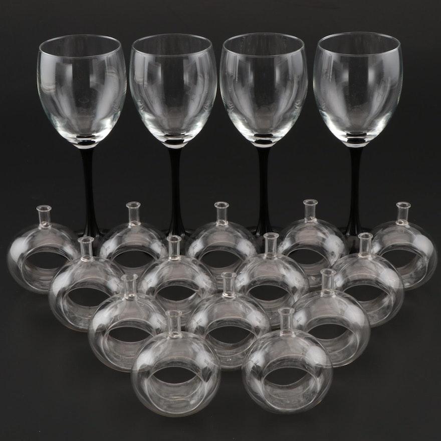 Black Stem Burgundy Wine Glasses with  Glass Bud Vase Napkin Rings